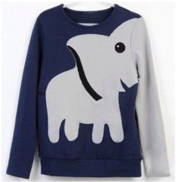 sweater animals elephant elephant kawaii blue hoodie hoodie pullover