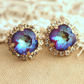 emilyyysaraa's save of Ultra Purple violet Rhinestone stud earrings,Bridal jewelry,gift for woman - 14k very Thick plated gold earrings real swarovski rhinestones. on Wanelo