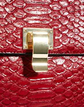 ASOS | ASOS Cross Body Bag In Croc With Chain Handle at ASOS