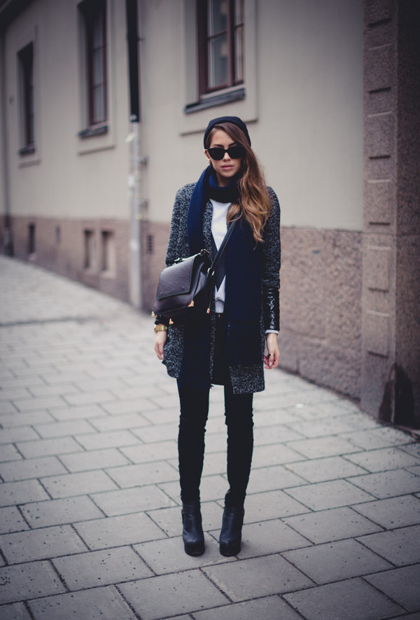 kenza sweater coat jeans shoes bag scarf jewels sunglasses