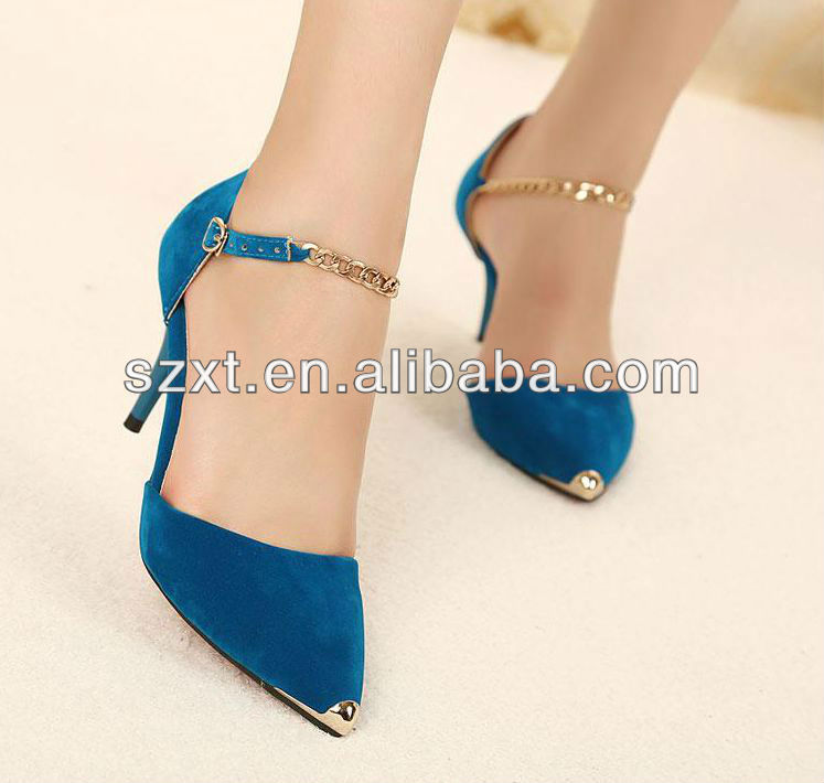 Elegent Navy Blue Chain Strap Steel Toe High Heel Ladeis Dress Shoes Ladies Pump Shoes - Buy Ladies Pumo Shoes,Ladies Dress Shoes,High Heel Pump Shoes Product on Alibaba.com