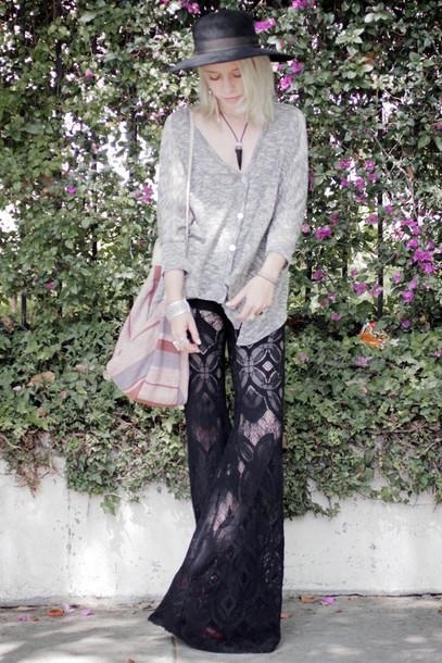 lace jean greige black pants pants