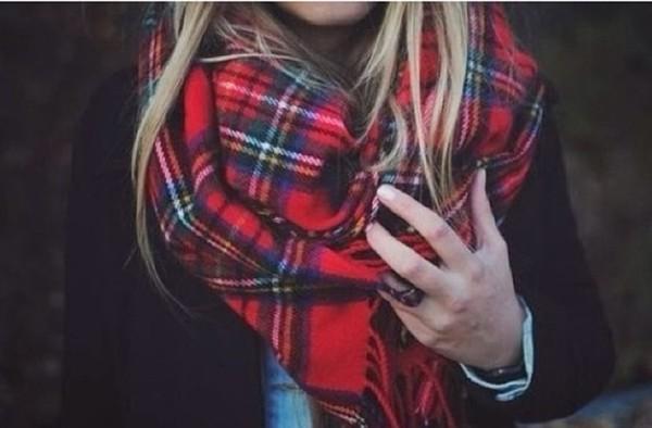 scarf tartan red scarf