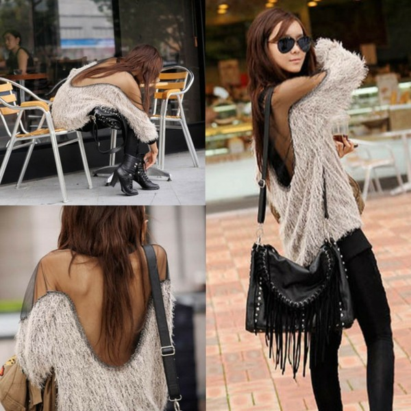 shirt i4out sweater jacket cardigan look lookbook clothes clothes swag streetstyle pants bag fringed bag jeans boots hair open back dress fashion sunglasses nail polish skinny pants