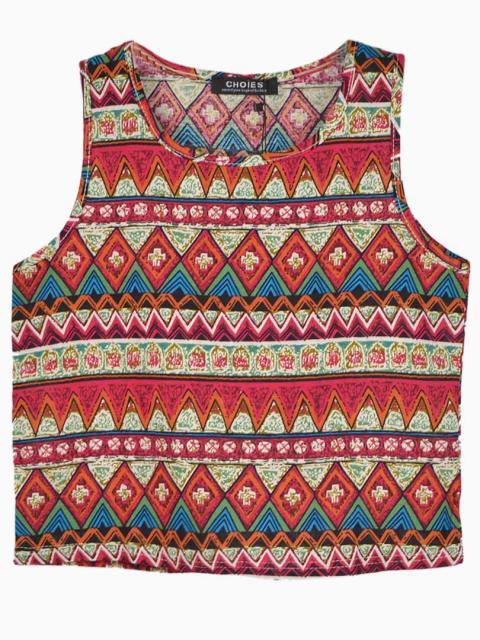 Red Sleeveless Shirt In Folk Print | Choies
