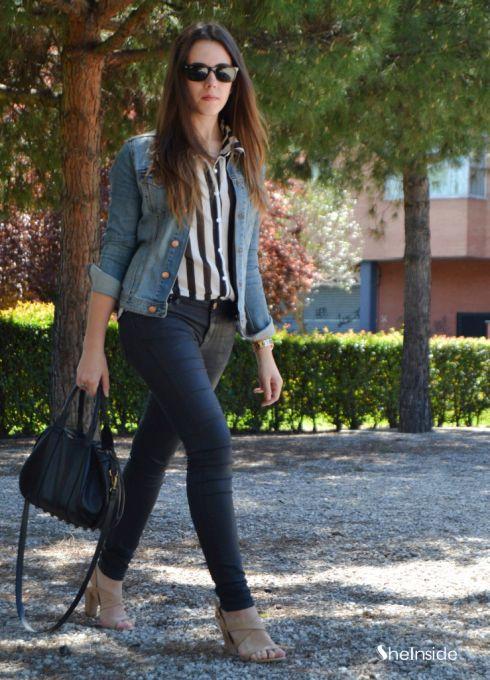 Black White Vertical Stripe Sleeveless Chiffon Blouse - Sheinside.com