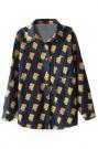 ROMWE | Simpson Print Loose Dark-blue Denim Blouse, The Latest Street Fashion