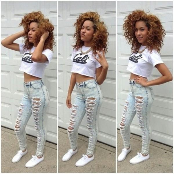 shirt crop tops jeans shoes