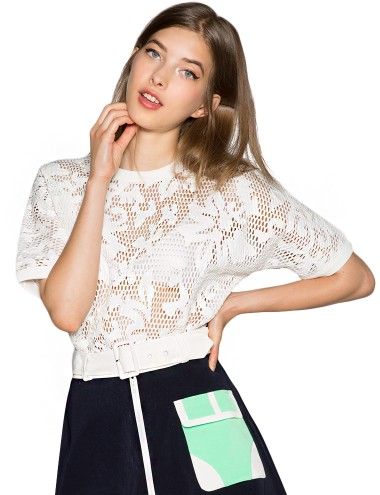 White Net Top - Crochet Lace Top - Perforated Top - $74