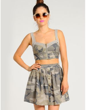 Miss Independence Army Print Crop Top | $9.50 | Cheap Trendy Blouses Chic Discount Fashion for Women
