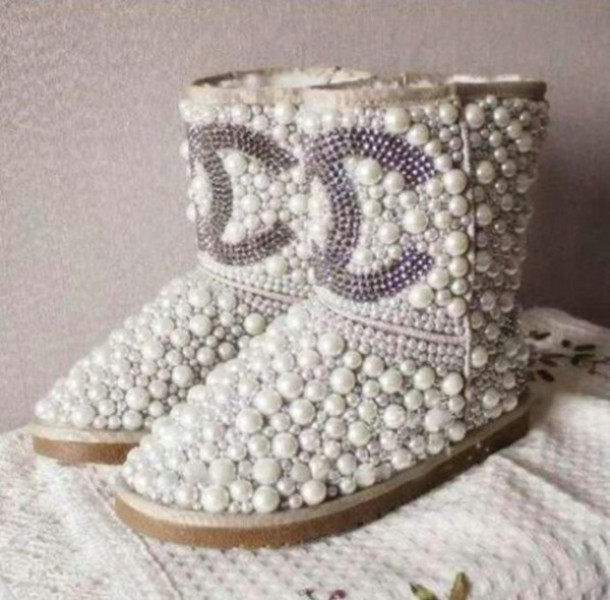 shoes boots chanel boots chanel pearl