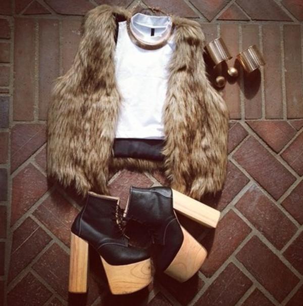 tank top crop tops faux fur white crop tops fur vest faux fur vest