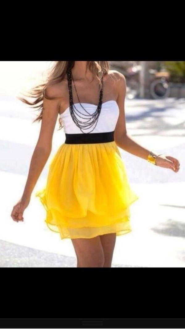 dress yellow white black jewels