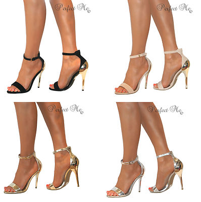 BLACK SILVER GOLD OR NUDE STRAPPY PEEP TOE HIGH HEEL SANDALS