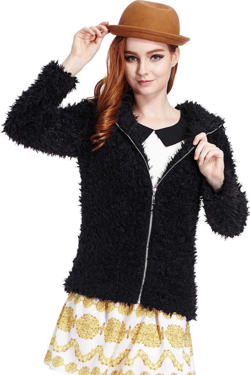 ROMWE | Romwe Faux Fur Hooded Long-sleeved Black Coat, The Latest Street Fashion