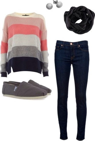 shirt pretty pink cute scarf shoes sweater striped sweater slip on shoes skinny jeans grey blouse warm orange pastel orange jeans toms flats black silver creme cream warrings studs fall outfits