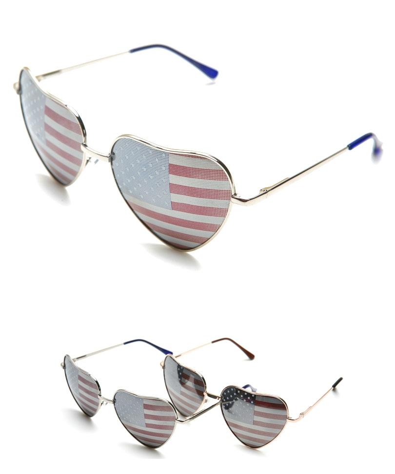 Multi Sun glasses - Heart Shape USA Flag Aviator   UsTrendy