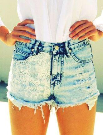 shorts denim blue high waist jeans cut off shorts high waisted denim shorts blue jean with lace