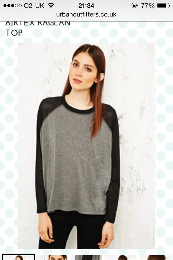 t-shirt baseball top baseball tshirt grunge grey black tumblr beaut