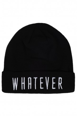 Buy Black whatever slogan beanie from Select Fashion online store