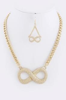 Textured Infinity Pendant Necklace Set