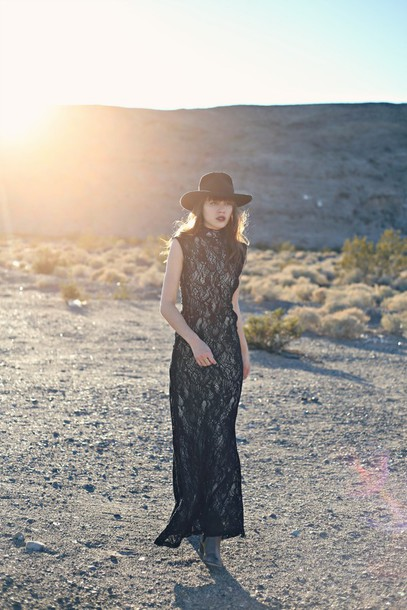 natalie off duty blogger hat folk gypsy boho lace dress black dress maxi dress dress jewels