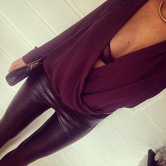 black leggings leather leggings draped top burgundy plunge neckline fall outfits leggings shirt plunge v neck top loose top long sleeves deep red v neck going out top maroon/burgundy wrap blouse maroon long sleeve shirt blouse red wine evening dresses clubwear leather leather pants hot chic sexy bralette lace pants