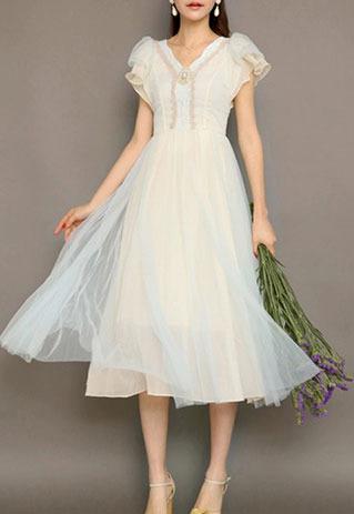 littledaisy | Retro Ruffled Short Sleeve Gold Thread Lace Maxi Dress  | Online Store Powered by Storenvy