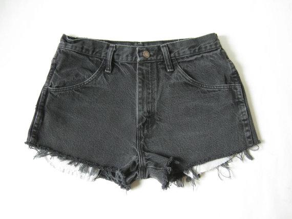 Vintage Rustler Black Denim Cutoff Shorts. Size by TimeBombVintage