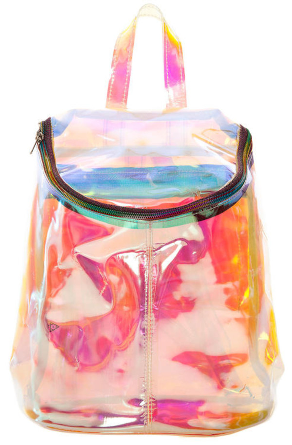 bag holographic back to school school bag pink purple yellow orange blue green transparent backpack rucksack plastic clear fashion colorful transparent  bag