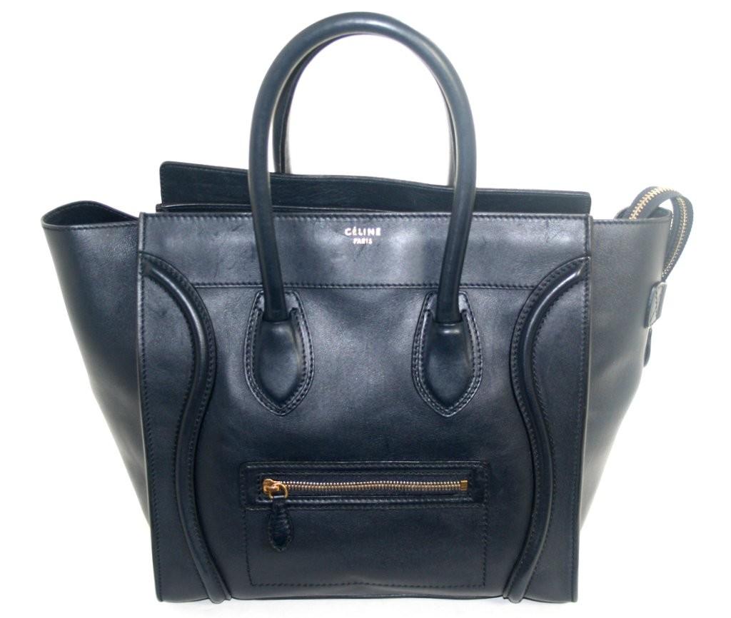 Celine Navy Leather Mini Luggage Shopper Bag | Portero Luxury