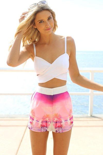 White Party Top - White Criss Cross Crop Top | UsTrendy
