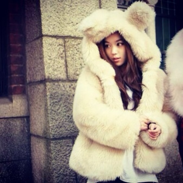 coat ecopelliccia pelliccia dreamshop sneet bear orecchie orso