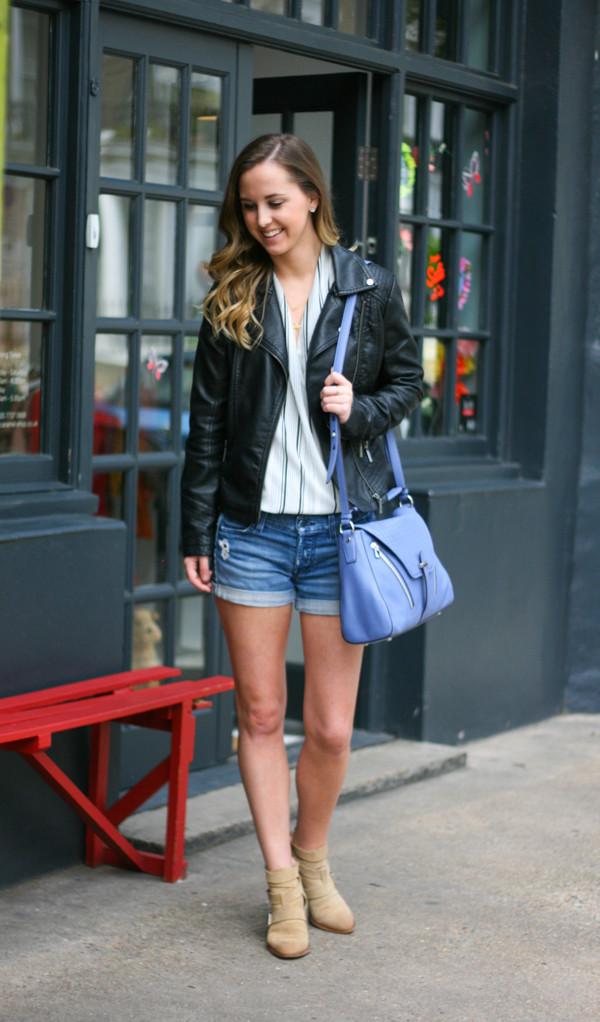 side smile style jacket blouse jewels bag shoes shorts