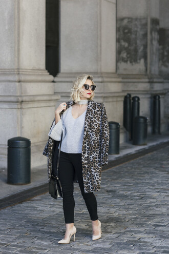 my style pill blogger sweater jeans shoes sunglasses high heel pumps pumps animal print skinny jeans grey sweater