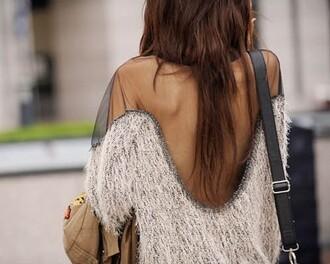 black sweater transparent white sweater sweater top tank top plume grey t-shirt skirt