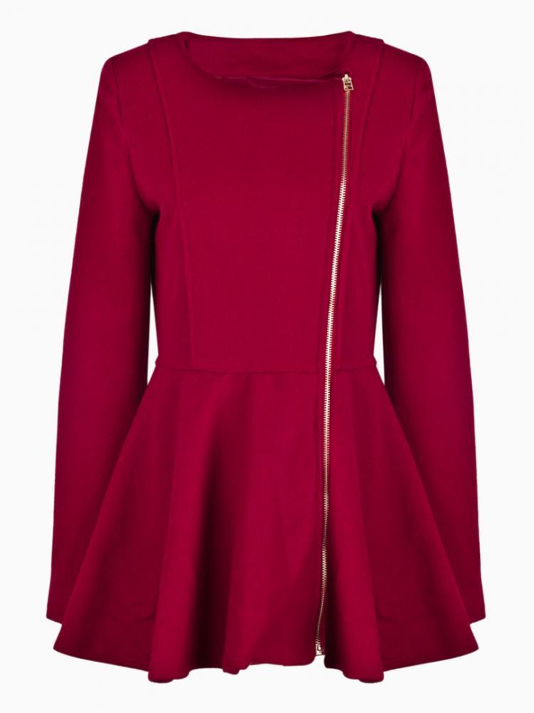 Zipper Wool Swing Coat In Red   Choies