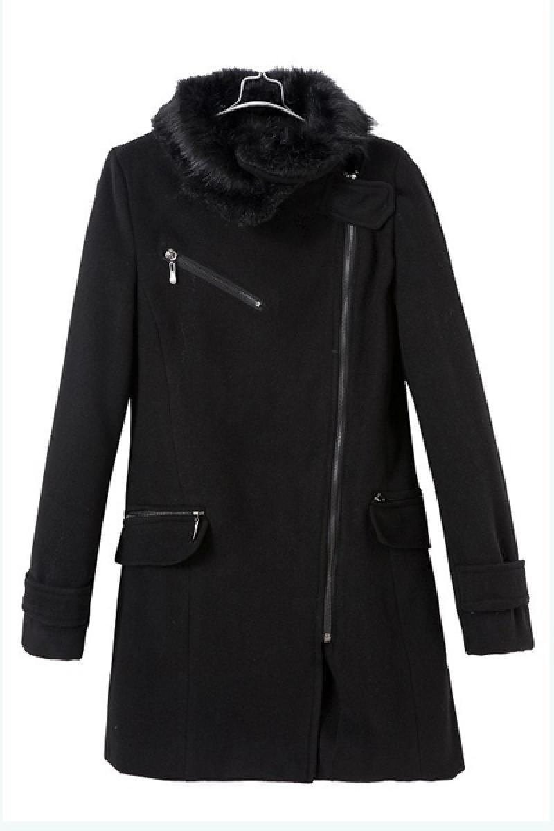 Wool Collar Inclined Zipper Slim Women Overcoat,Cheap in Wendybox.com