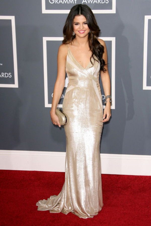dress maxi maxi dress selena gomez fashion cute red carpet metallic v-line low cut dress champage silver rose gold trendy prom prom dress