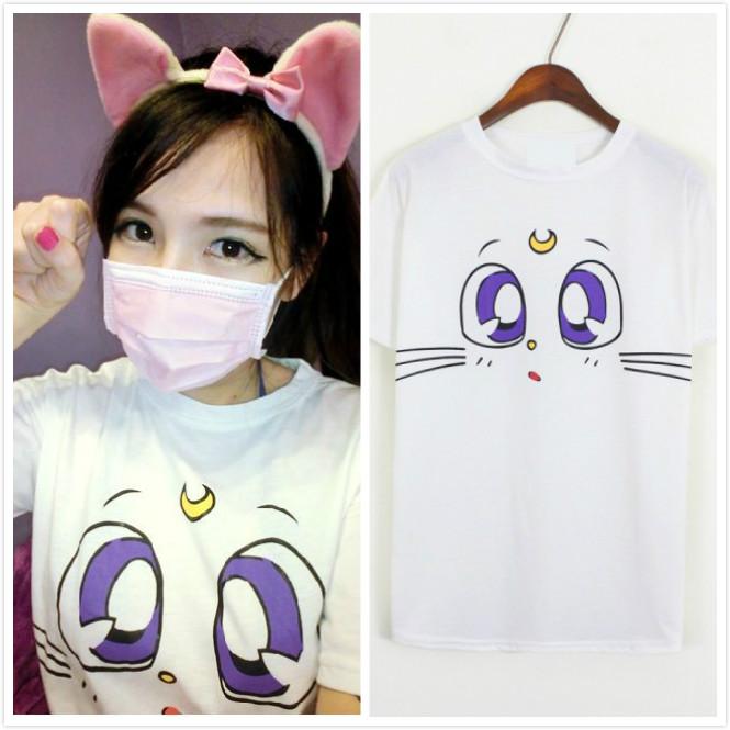 Harajuku Sailor Moon Luna Cat T Shirt Tees 3 Color Cotton Collectibles Sweet   eBay