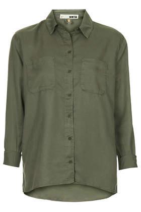 MOTO Khaki Tencel Shirt - Shirts - Tops - Clothing- Topshop USA