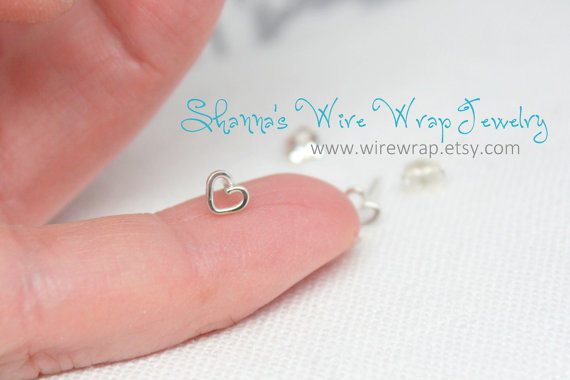 Teeny Tiny 3mm Heart Stud Cartilage Earring by wirewrap on Etsy