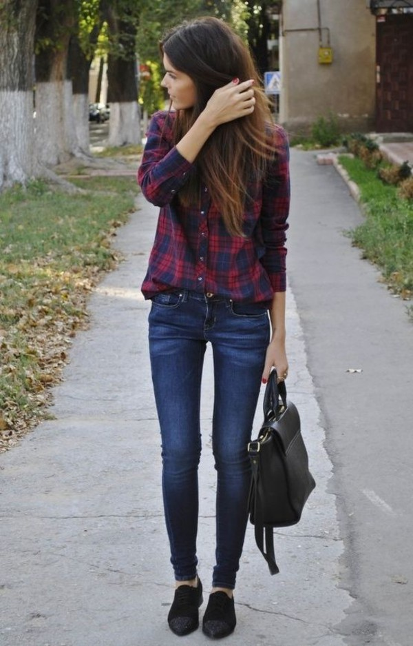 jeans black sneakers plaid shirt shirt