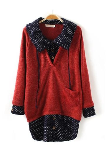 Knit Stitching Polka Dots Shirt [FDBI00423]- US$31.99 - PersunMall.com