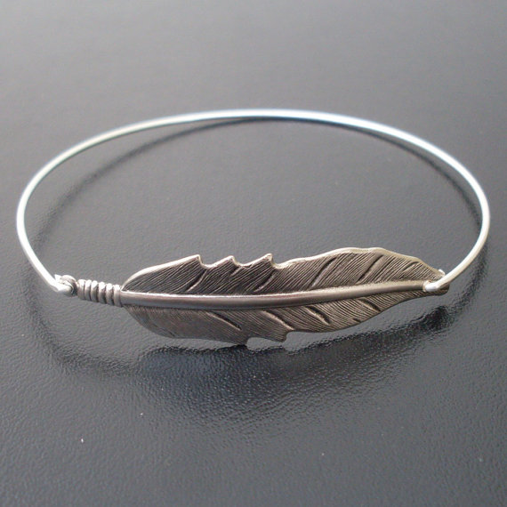 Silver Feather Bracelet Feather Bangle Bracelet by FrostedWillow