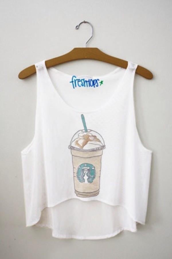 tank top starbucks coffee shirt starbucks coffee blouse top t-shirt style starbucks coffee fashion clothes tumblr summer white crop tops