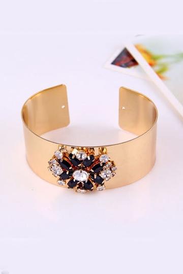 Vintage Gem and Rhinestone Flower Bracelet [FWBJ00213] - PersunMall.com