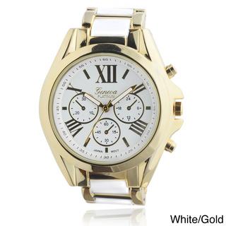 Geneva Platinum Women's Roman Numeral Metal Link Watch | Overstock.com Shopping - The Best Deals on Women's Geneva Watches