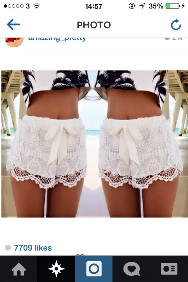 shorts white shorts lace top