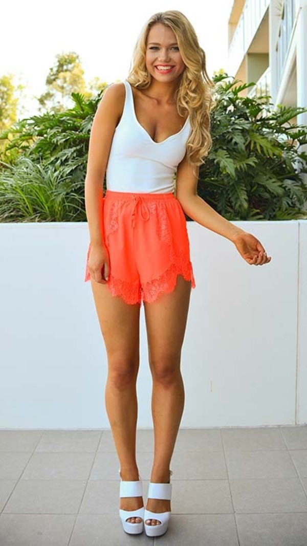 shorts neon high waisted summer bright lace High waisted shorts shoes